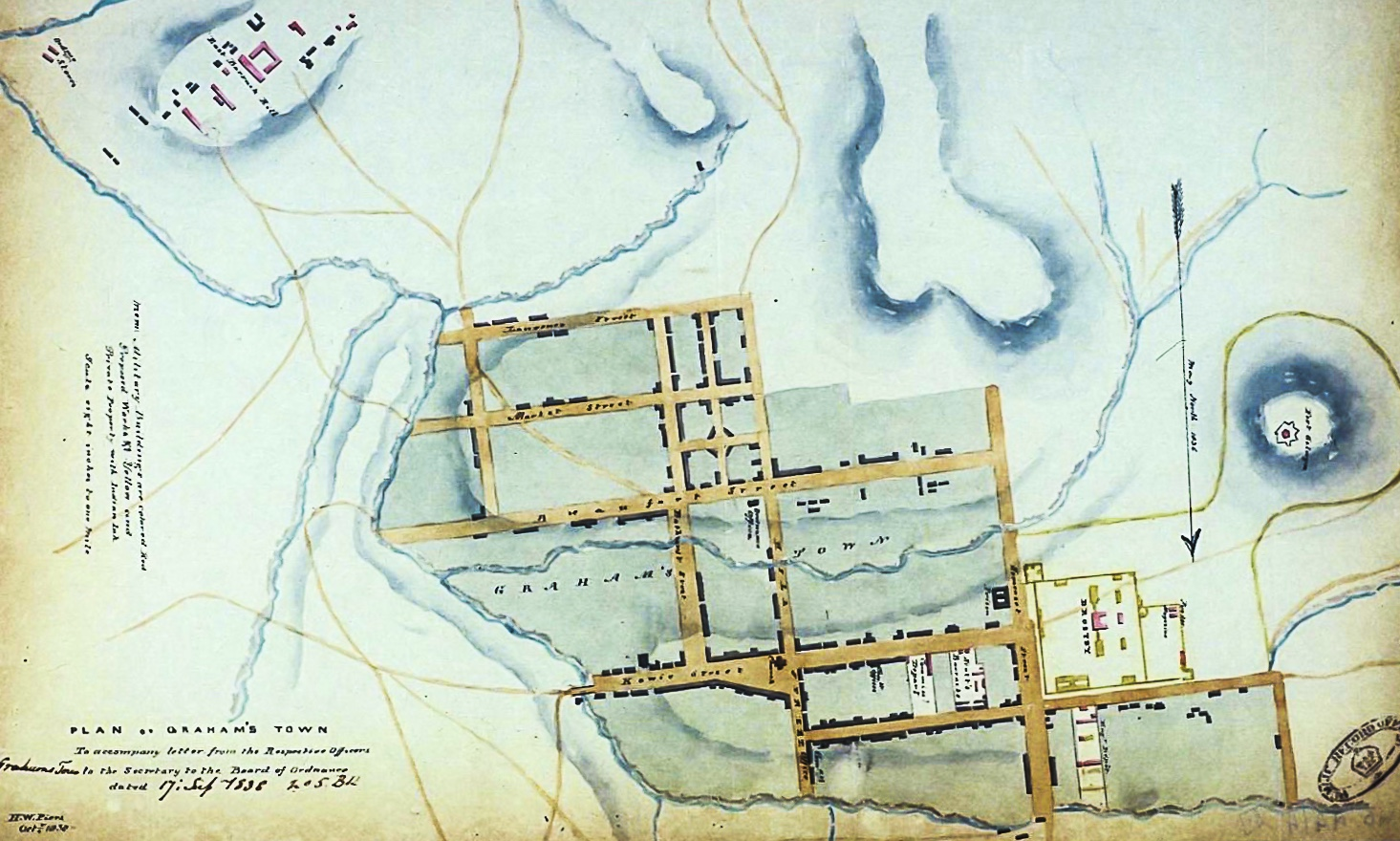 Piers' 1838 Sketch of Grahamstown