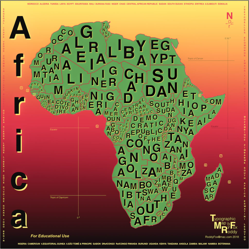Countries of Africa: Typographic map in Pan-African Colours (Educational Use)